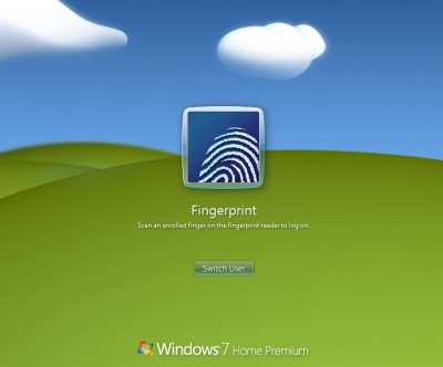 Windows 7 Fingerprint Logon Screen Snapshot